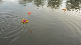A small krathong made out of bread floats by on a pond in Bangkok, Thailand. Many people choose to release a bread krathong as it will then also become food for the fish.
