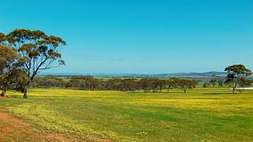 View across fields in a valley on an Australia farm in spring.