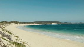Looking across the beautiful water and beach of Foul Bay in Australia's South West.