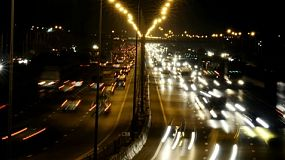 Time lapse of traffic on a busy highway in Bangkok, Thailand.