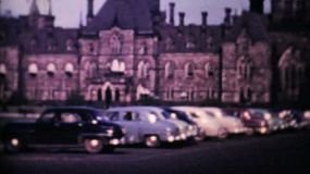 A shot of the Canadian Parliament buildings in Ottawa, Ontario in 1958.