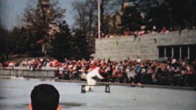 Scenes from an outdoor Figure Skating year end show including a vaudeville act in Philadelphia, Pennsylvania in 1962.