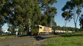 A freight train passing through a country town in Western Australia