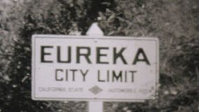 Leaving Eureka California and entering Oregon on a summer holiday driving trip in 1940.