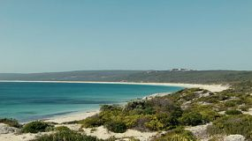 Looking across the dunes at the beautiful Hamelin Bay in Australia's South West.