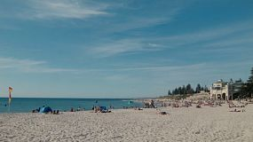 Looking across the sand at Cottesloe Beach in Perth, Western Australia.