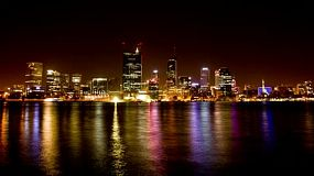 Time lapse of Perth city (Australia) with the beautiful lights of the city reflecting on the water of the Swan River. 4k & 1080p.