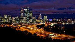 Timelapse of Perth City, Australia, as seen from King's Park, from late dusk to night time -  4k &1080p