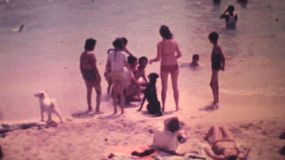 Families enjoying their holidays at the beach in Caracas, Venezuela in the summer of 1978.