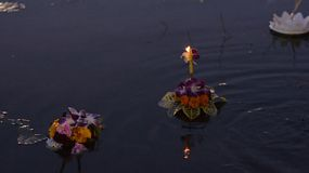 A small krathong made of flowers and banana leaves floating in a pond at dusk during the Loi Krathong Festival in Bangkok, Thailand.