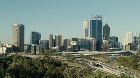 Time lapse looking down on the City of Perth and freeway, as seen from King's Park in Western Australia.