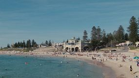 Many people enjoying a hot spring day at Cottesloe Beach in Western Australia.