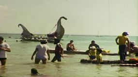 8mm film footage of boats in the 8th annual beer can regatta, on the 14th of June, 1981 in Darwin, Australia. 
