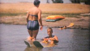 Family Water Skiing On Lake-1961 Vintage 8mm Film