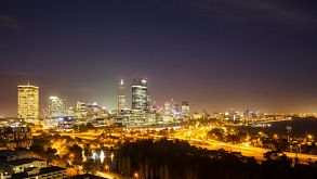 Night Time Lapse Of Perth City Skyline 2014