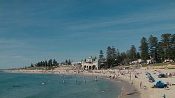 Lots of locals enjoying a hot spring day at Cottesloe Beach in Western Australia.