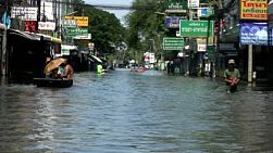 A shot of a flooded street in the norther part of Bangkok, Thailand during the floods of 2011.