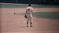 Action at a major league baseball game at Yankee Stadium in New York in the summer of 1967.