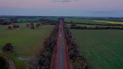 Drone view flying above a  car towing a caravan along a straight road cutting through green fields on an Australian farm, in the evening approaching dusk.
