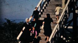 Visiting Amish country in Pennsylvania and seeing some Amish people on the steps in 1940.