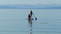 Asian sisters enjoy paddleboarding with their cute Bichon Frise puppy on a gorgeous summer day in Qualicum Beach, BC.