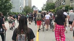 "VANCOUVER, BC, CANADA, JUNE 19th, 2020: The people of Vancouver take part in the Juneteenth ""Black Lives Matter"" march on June 19th, 2020."