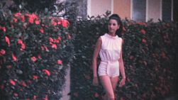 An attractive young college aged girl poses in front of a hedge while on holidays in the summer of 1969 in Florida.