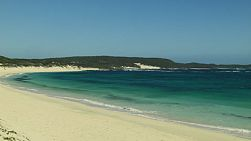 Looking down the white sandy beach of Foul Bay in Australia's South West.