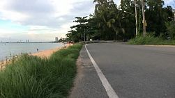 A beachside road near the ocean in beautiful Sattahip, Thailand.
