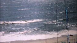 A shot of the beautiful ocean and waves on the beach in the summer of 1958.