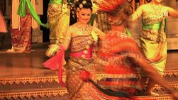 Beautiful Thai dancers wearing their traditional costumes perform at a cultural show in Pattaya, Thailand.