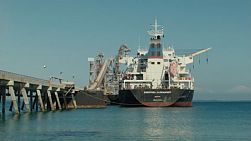 A bulk carrier ship docked by the beach in Kwinana, in Western Australia, ready for loading.