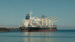 A bulk freighter ship docked at Kwinana, in Western Australia, ready for loading.