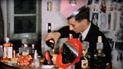 A crazy young bartender has fun mixing drinks for all his friends at the Christmas eve party in Pittsburgh, Pennsylvania in 1958.