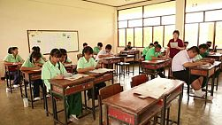 A class room of students studying in a small rural school in the northern province of Chiang Rai, Thailand.