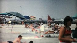 A crowded sandy beach in Florida in the summer of 1967.