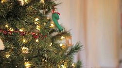 A cute little 5 year old Thai girl hangs an Asian style Christmas ornament on her Christmas tree.