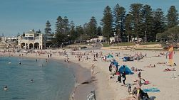 Lots of people and families enjoying a hot spring day at Cottesloe Beach in Western Australia.