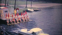 A group of female water skiers perform on a lake in Orlando, Florida in the summer of 1961.