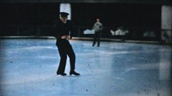 A man in a handsome uniform enjoys practicing leaping and jumping while figure skating at the Penn Center ice rink in downtown Philadelphia in December 1962.