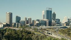 Looking down on the City of Perth and freeway, from King's Park in Western Australia.