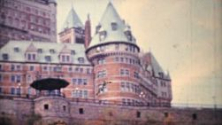 A shot of the infamous Frontenac Hotel in Quebec City on the Saint Lawrence Seaway in 1958.