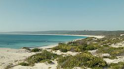 Looking across the dunes, beach and ocean at Hamelin Bay in Australia's South West.