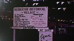 Vintage 8mm film footage of the Herberton Historical Village sign, in Queensland, Australia in 1983.