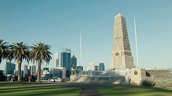 The State War Memorial in King's Park, Western Australia, overlooking the city of Perth.