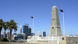 The state war memorial in king's park, perth, australia, overlooking the city of perth on a summer's day.