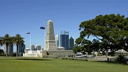 The State War Memorial in King's Park, Perth, Australia, overlooking the city of Perth on a beautiful summer's day.