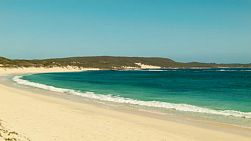 Looking down the beach and across the water at Hamelin Bay in Australia's South West.