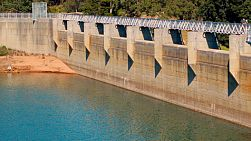Looking along the concrete dam at Mundaring Weir, near Perth, Western Australia.The Mundaring Weir dams the water for Lake C.Y. O'Connor, one of Perth's major water reservoirs.