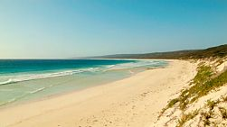View down the long beach at Hamelin Bay in Western Australia.